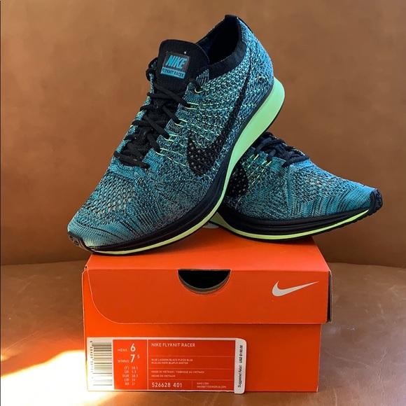 36c3241c8a Nike Shoes | Flyknit Racer Unisex 6m75w Blue Lagoon | Poshmark